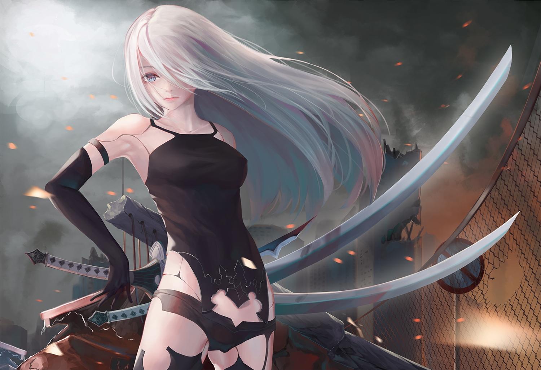gray_eyes gray_hair nekobell nier nier:_automata sword weapon yorha_unit_no._2_type_a
