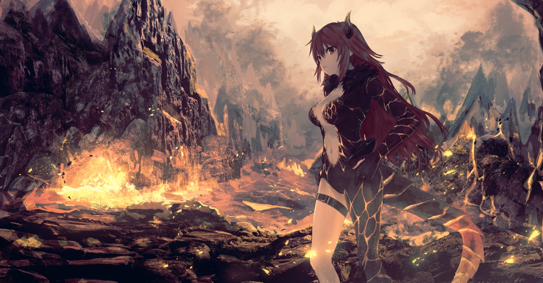 breasts cleavage dola_(nijisanji) fire horns kumamoto_nomii-kun long_hair navel nijisanji red_eyes red_hair tail