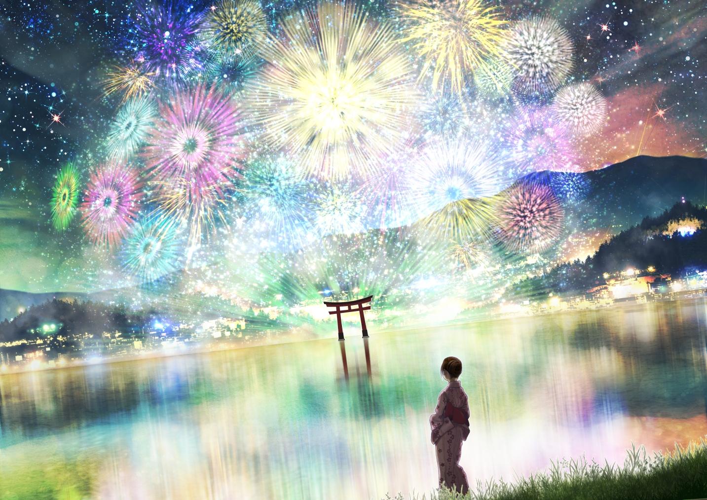 fireworks japanese_clothes kupe night original reflection scenic summer torii yukata