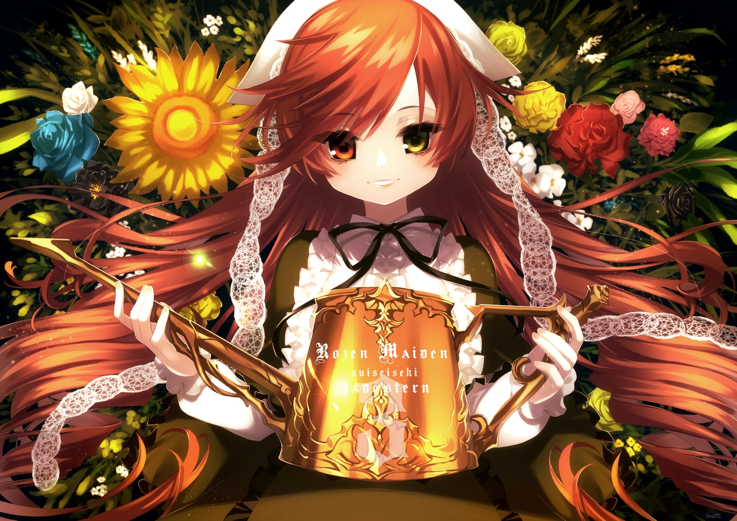 bicolored_eyes brown_hair flowers headdress lolita_fashion long_hair nagata_shuu rose rozen_maiden suiseiseki sunflower