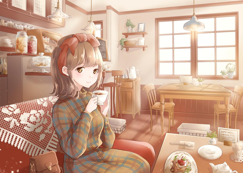 brown_eyes brown_hair couch dress drink food headband hoshiibara_mato original short_hair