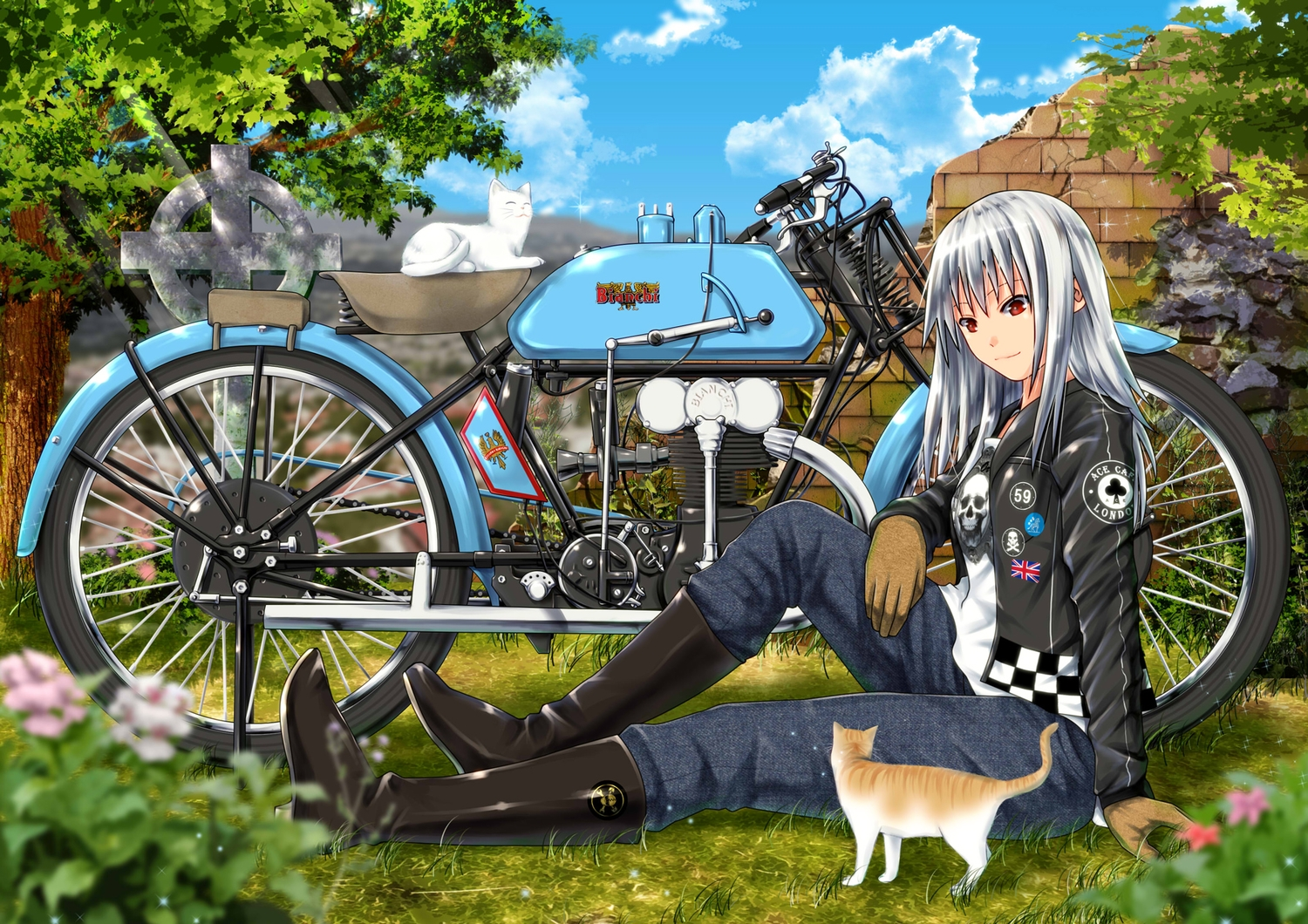 animal ano_hito boots cat clouds cross gloves grass gray_hair long_hair motorcycle original red_eyes ruins sky tree
