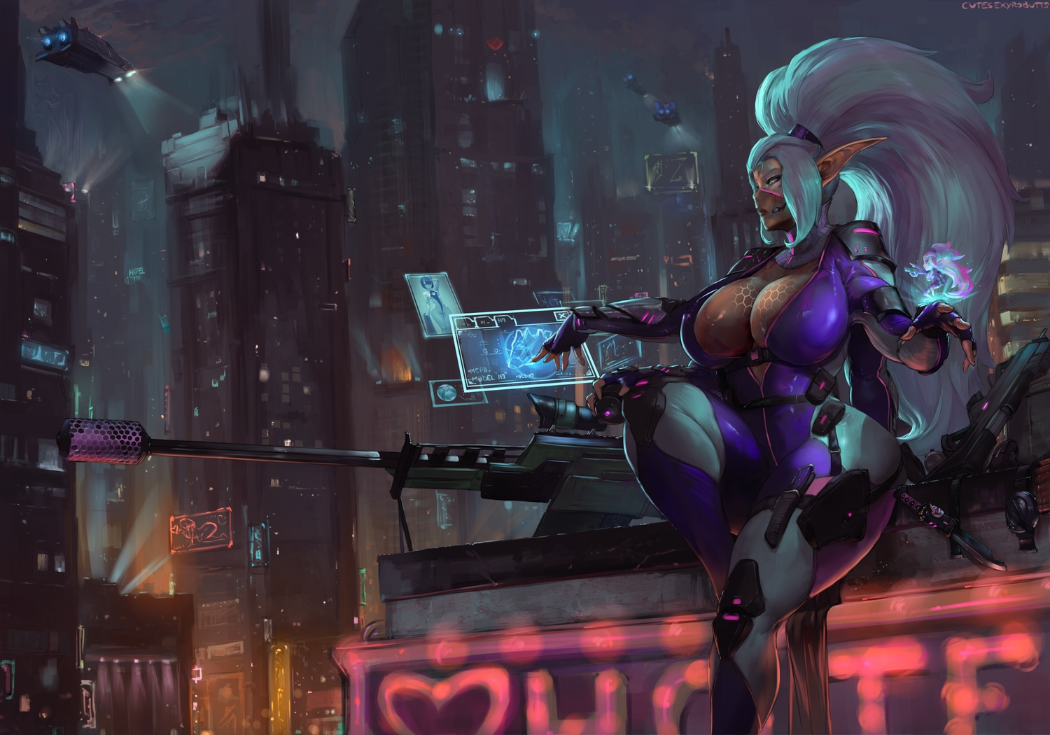 aircraft bodysuit breasts building city cleavage cutesexyrobutts dark_skin gloves gun knife long_hair microphone night original pointed_ears ponytail signed weapon white_hair