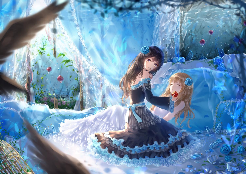 2girls bed dress ittetsu_taro original sleeping underwater water