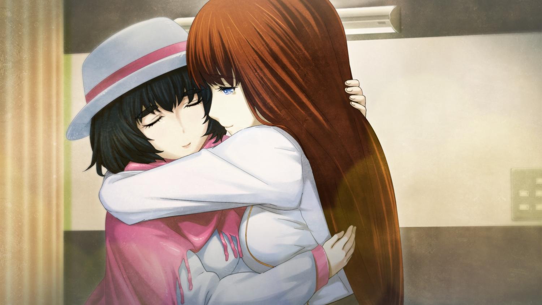 2girls aqua_eyes black_hair brown_hair game_cg hat hug huke long_hair shiina_kagari shiina_mayuri short_hair steins;gate steins;gate_zero tears