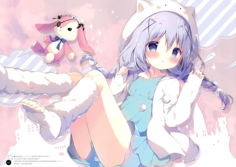 blush braids bunny gochuumon_wa_usagi_desu_ka? hat hoodie kafuu_chino loli long_hair purple_hair scan shiratama shorts twintails