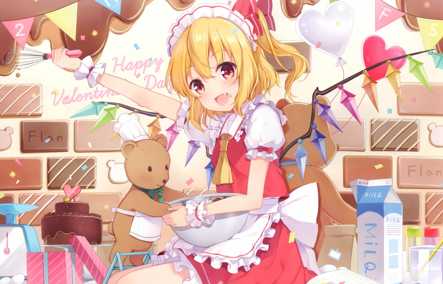 6u_(eternal_land) apron blonde_hair blush bow cake candy chocolate cropped fang flandre_scarlet food headdress heart ponytail red_eyes scan short_hair skirt teddy_bear touhou valentine vampire wings wristwear