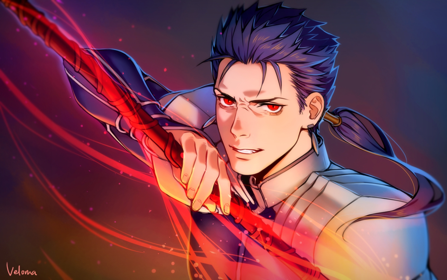 all_male armor blue_hair cang_fade close cu_chulainn fate_(series) fate/stay_night long_hair magic male ponytail red_eyes signed spear weapon