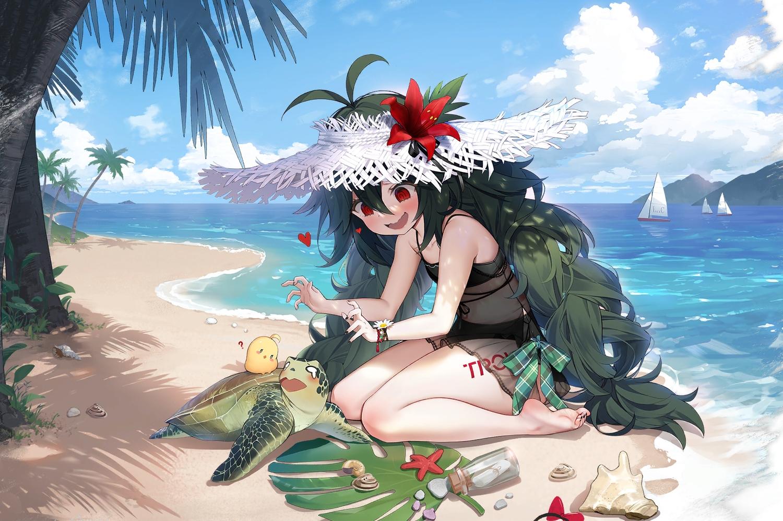 animal anthropomorphism azur_lane beach bikini blush byulzzimon clouds cropped green_hair loli long_hair manjuu_(azur_lane) red_eyes sky swimsuit third-party_edit torricelli_(azur_lane) turtle water