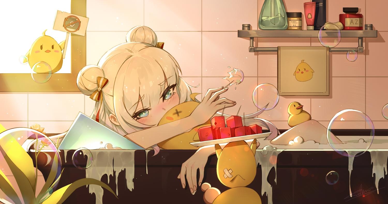 anthropomorphism aqua_eyes azur_lane bath bathtub bubbles food fruit le_malin_(azur_lane) loli long_hair manjuu_(azur_lane) moonofmonster water watermelon white_hair