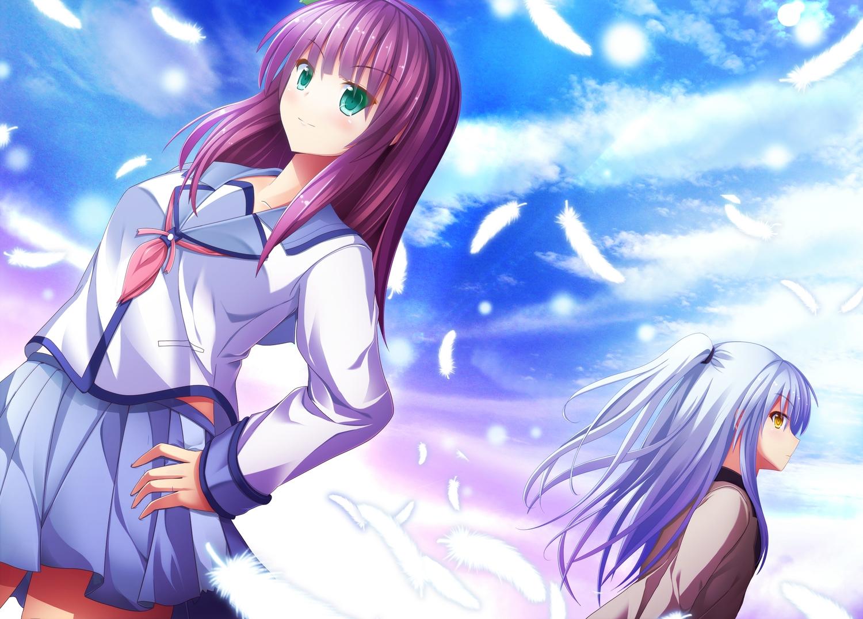 2girls angel_beats! aqua_eyes feathers headband ichiki_yuu long_hair nakamura_yuri red_hair school_uniform skirt tachibana_kanade white_hair yellow_eyes