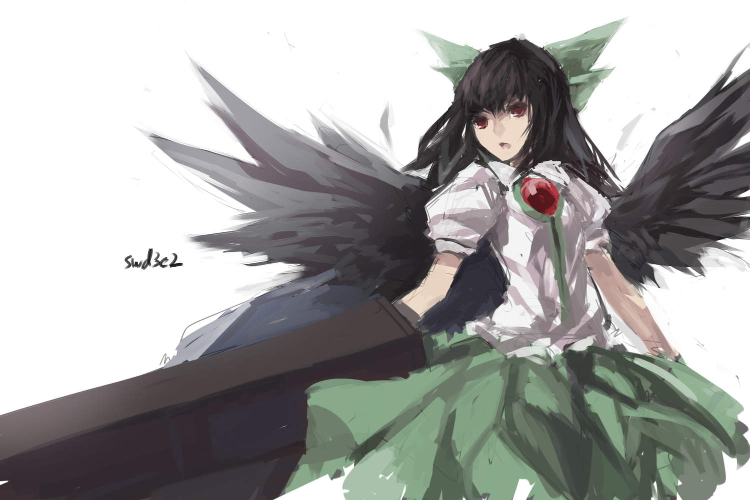 black_hair long_hair red_eyes reiuji_utsuho signed skirt swd3e2 touhou weapon wings