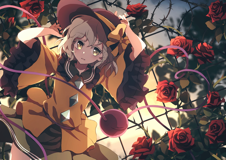 bow brown_eyes brown_hair dise flowers hat komeiji_koishi rose short_hair touhou