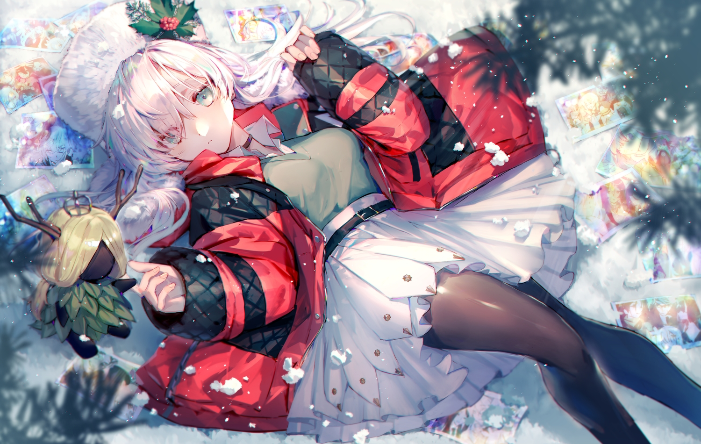anastasia_(fate/grand_order) aqua_eyes choker doll fate/grand_order fate_(series) hat long_hair mebaru pantyhose skirt snow white_hair
