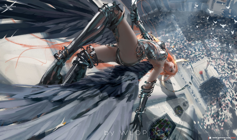 armor ghostblade halo jpeg_artifacts logo long_hair orange_hair pointed_ears sword thighhighs watermark weapon wings wlop