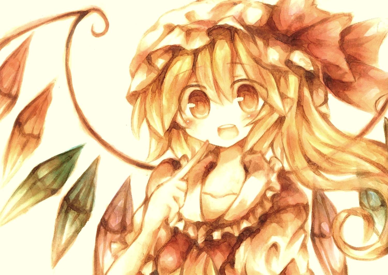 blonde_hair flandre_scarlet polychromatic red_eyes touhou vampire wings wiriam07