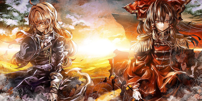2girls blonde_hair bow brown_hair gloves hakurei_reimu hat kirisame_marisa kozou_(soumuden) long_hair orange_eyes red_eyes sunset torn_clothes touhou twintails uniform