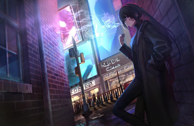 black_hair building cigarette city hashimoto_kokai kuro:a_channel kuroa_(kuro:a_channel) long_hair night ponytail purple_eyes scar smoking suit