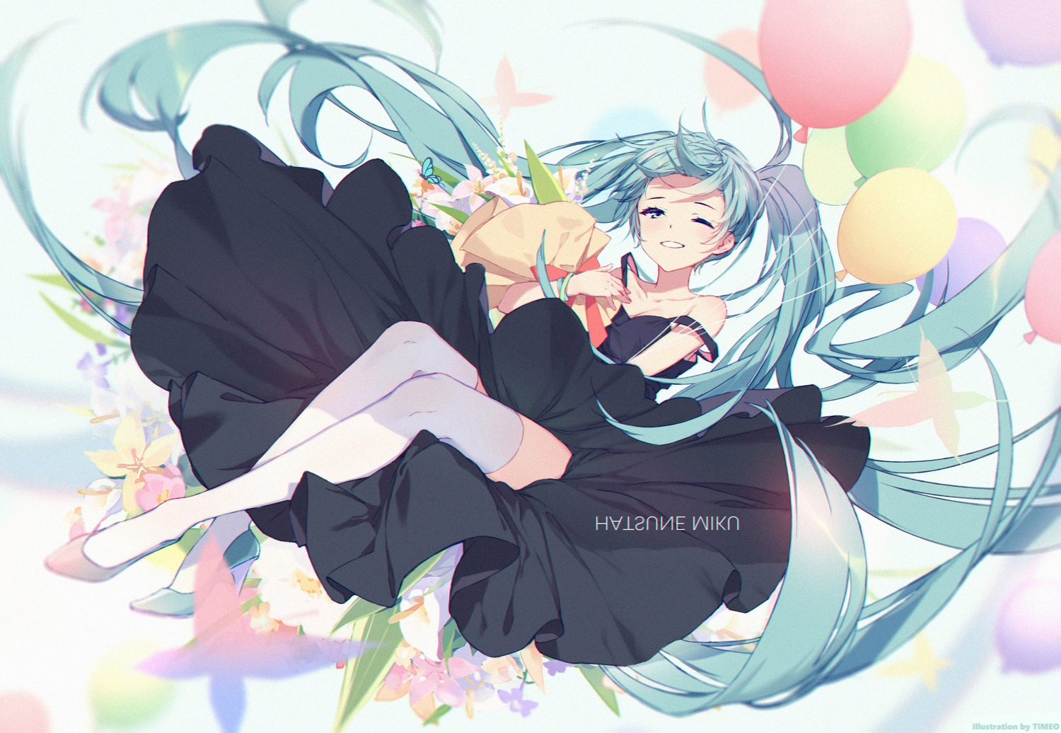 aqua_hair dress flowers hatsune_miku long_hair thighhighs timeo vocaloid watermark wink