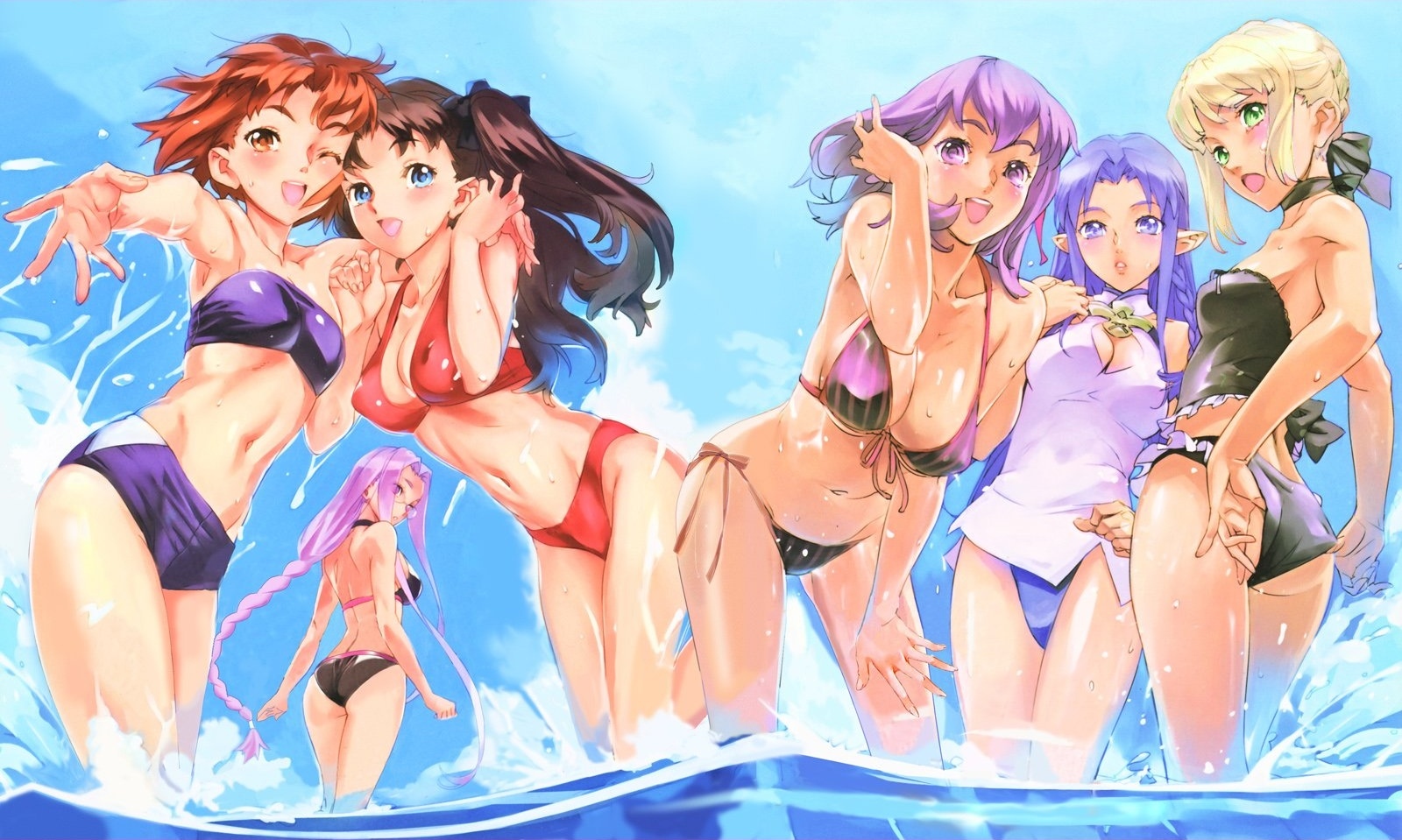 artoria_pendragon_(all) bikini fate_(series) fate/stay_night matou_sakura medea_(fate) navel nishieda pointed_ears rider saber summer swimsuit tohsaka_rin