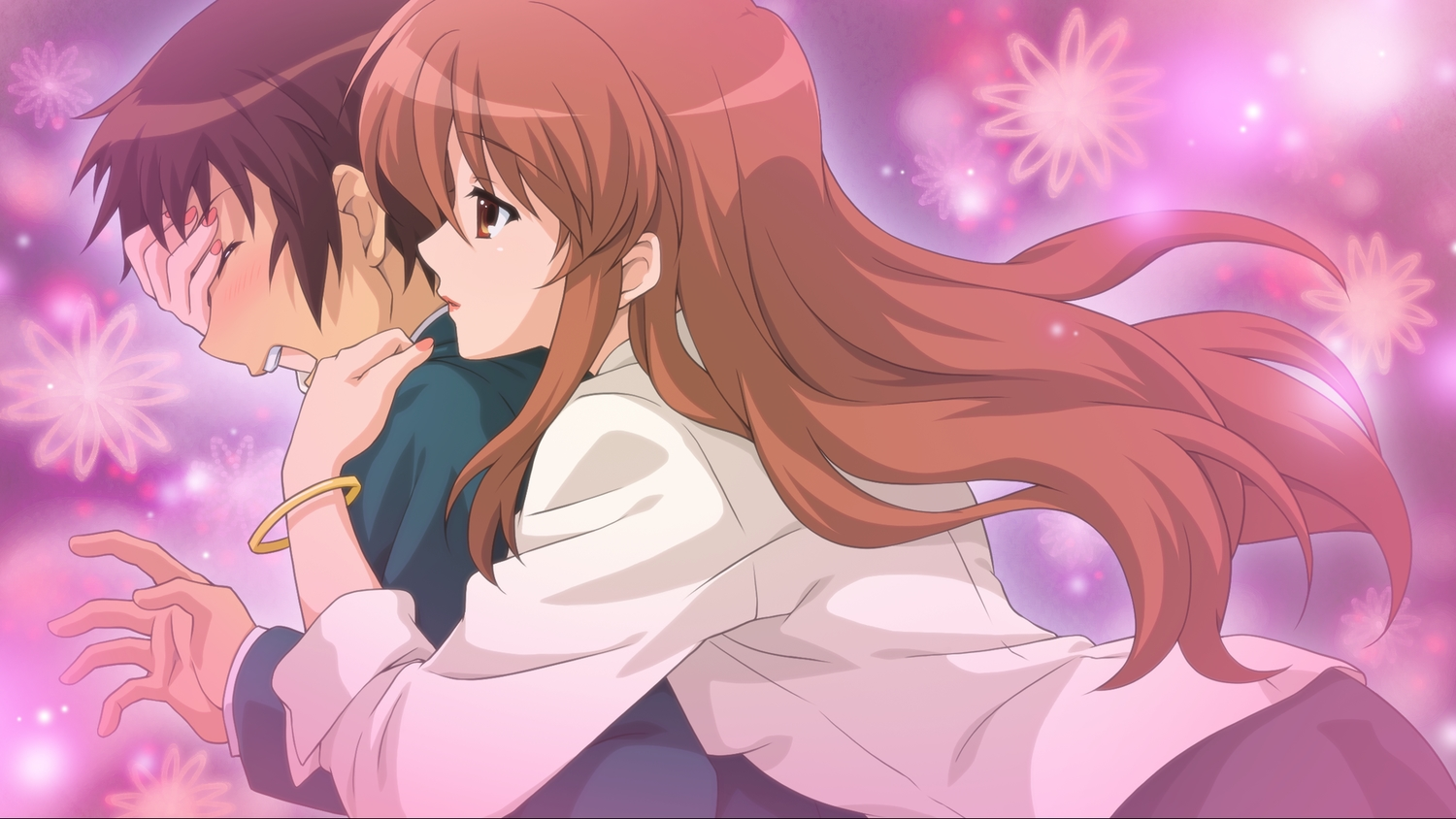 asahina_mikuru brown_eyes brown_hair game_cg hug kyon long_hair male orange_hair school_uniform short_hair suzumiya_haruhi_no_tsuisou suzumiya_haruhi_no_yuutsu