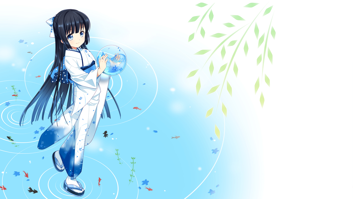 animal black_hair fish japanese_clothes kimono kirino_kasumu long_hair suishou_shizuku water
