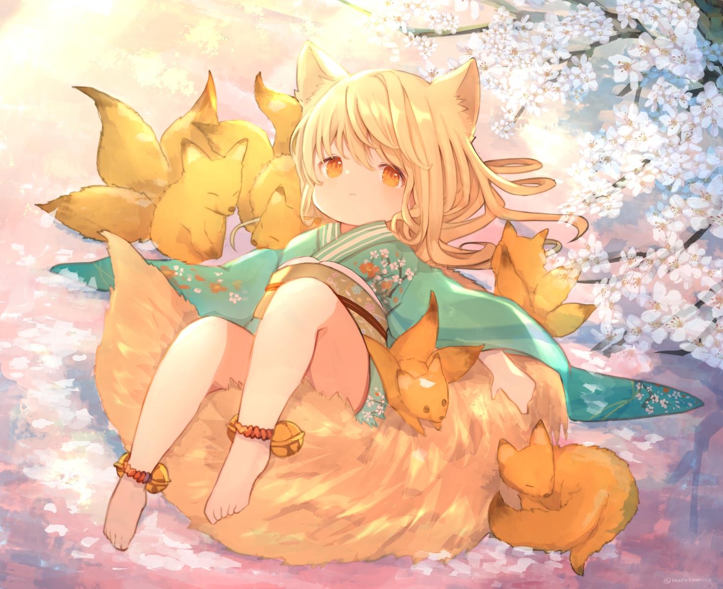 animal animal_ears bell blonde_hair cherry_blossoms flowers fox foxgirl japanese_clothes kimono loli long_hair orange_eyes original tail umika35