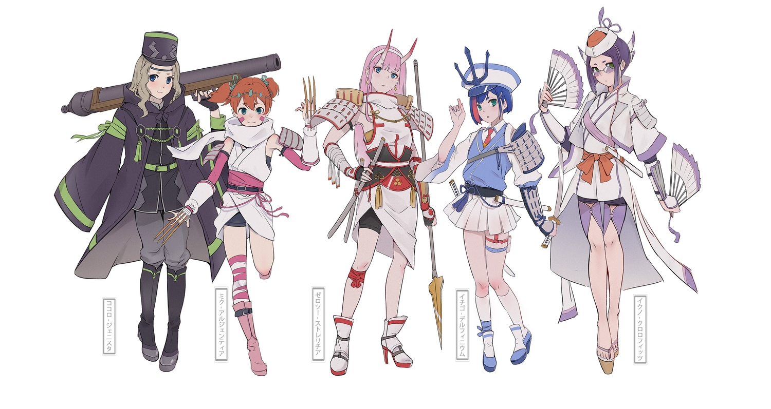 armor bike_shorts blue_eyes blue_hair boots darling_in_the_franxx demon fan garter glasses gray_hair green_eyes group gun hat headband horns ichigo_(darling_in_the_franxx) ikuno_(darling_in_the_franxx) katana kneehighs kokoro_(darling_in_the_franxx) long_hair miku_(darling_in_the_franxx) mumu ninja orange_hair pink_hair purple_hair samurai scarf short_hair shorts skirt spear sword thighhighs translation_request twintails weapon white zero_two