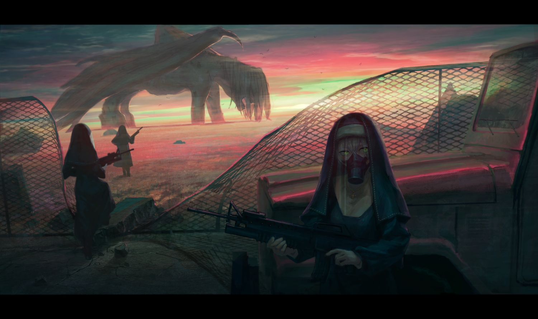 car clouds cross gloves gun mask necklace nun original sky sunset tentsu weapon wings yellow_eyes