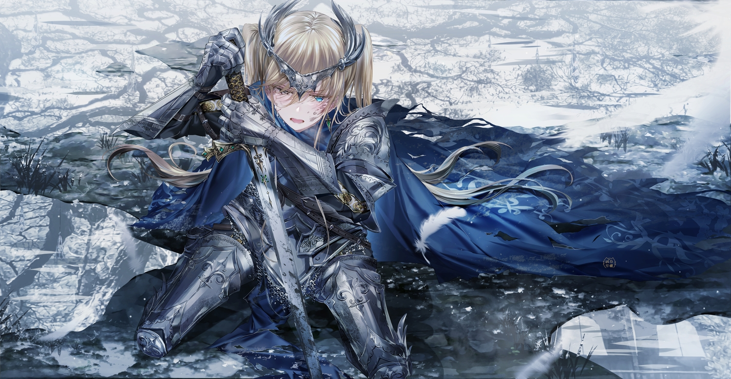 armor bicolored_eyes blonde_hair blood crying headdress junpaku_karen long_hair original reflection sword tears twintails water weapon