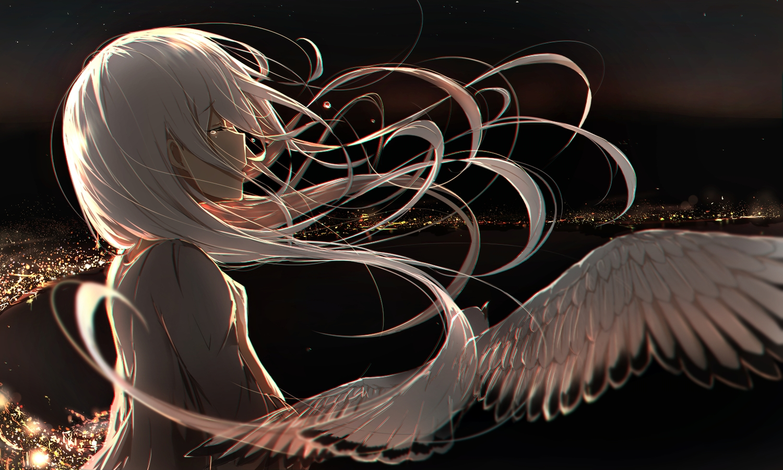 aliasing animal bird building long_hair polychromatic rerubixi tears vocaloid