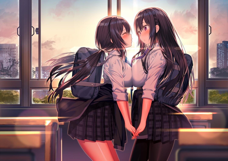 akusema blush jpeg_artifacts long_hair original pantyhose school_uniform shoujo_ai twintails