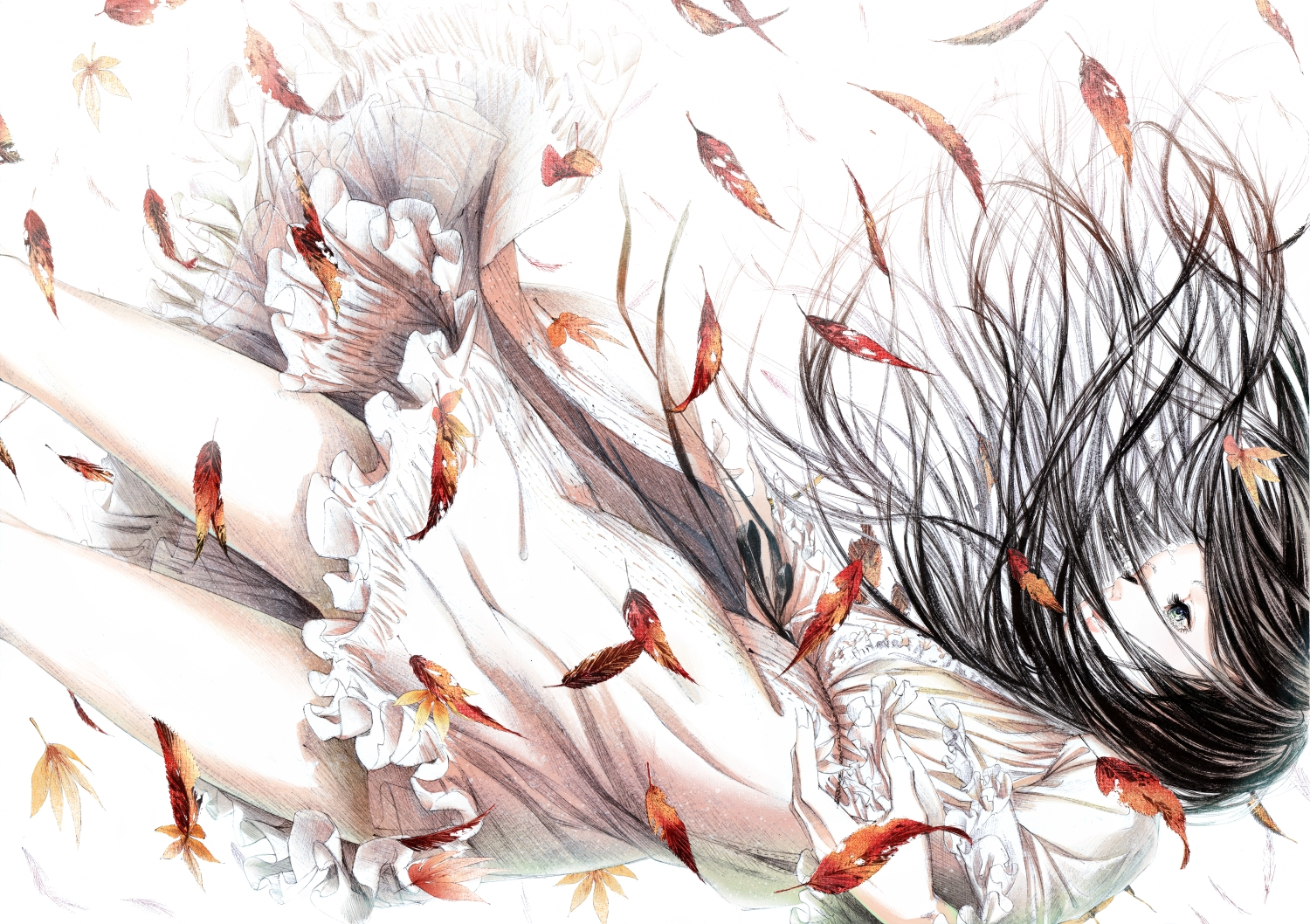 autumn black_hair blue_eyes feathers leaves long_hair original ribbons sawasawa skirt