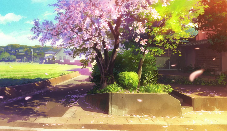 bozu_(ogiyama) building cherry_blossoms city clouds flowers grass nobody original petals scenic shade sky tree