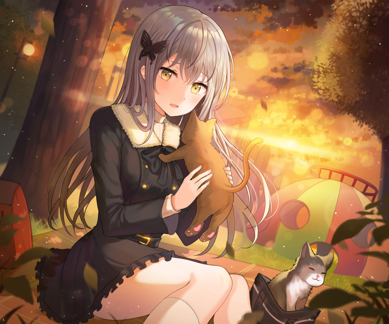 animal bang_dream! cat dress gothic grass gray_hair long_hair minato_yukina park sunset tokkyu_(user_mwwe3558) tree yellow_eyes