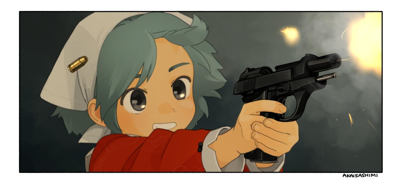 akai_sashimi close gray_eyes green_hair gun headdress maid original short_hair signed weapon