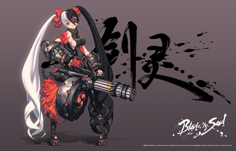 black_hair blade_&_soul eyepatch gun hyung-tae_kim long_hair po_hwa_ran twintails weapon white_hair