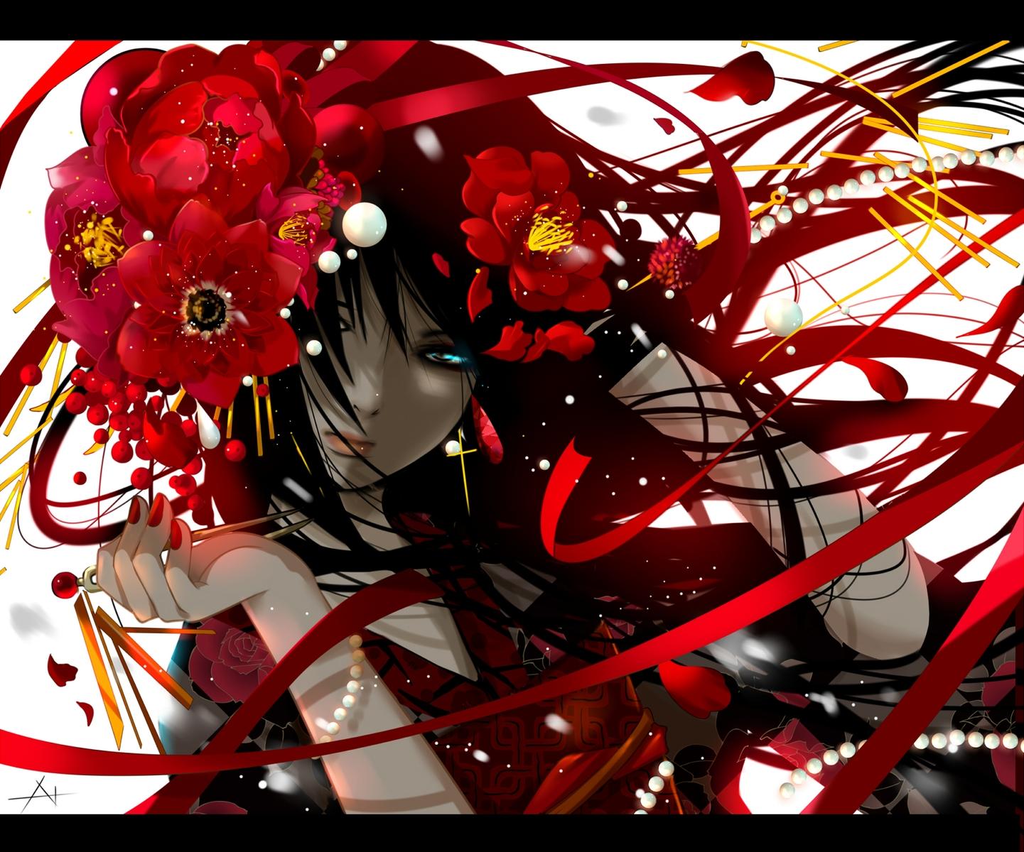 black_hair blue_eyes flowers long_hair nanahara_shie original petals ribbons signed
