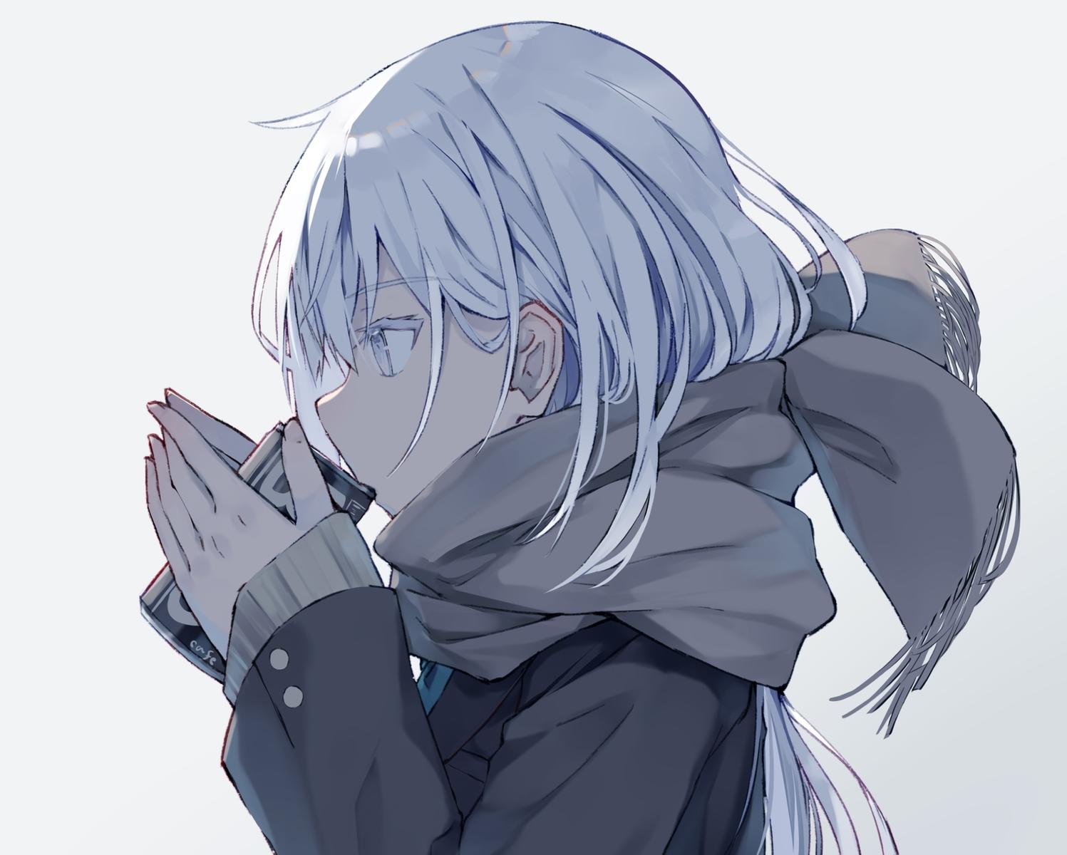 close drink gray_eyes nagishiro_mito original polychromatic scarf school_uniform waifu2x white_hair