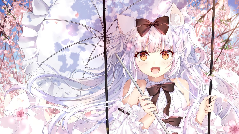 animal_ears anthropomorphism azur_lane bow brown_eyes catgirl cherry_blossoms close dress flowers hei_kuang_jun long_hair umbrella white_hair yukikaze_(azur_lane)