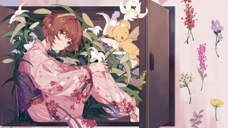 brown_hair card_captor_sakura flowers green_eyes japanese_clothes kero kimono kinomoto_sakura leaves short_hair signed suyi-j