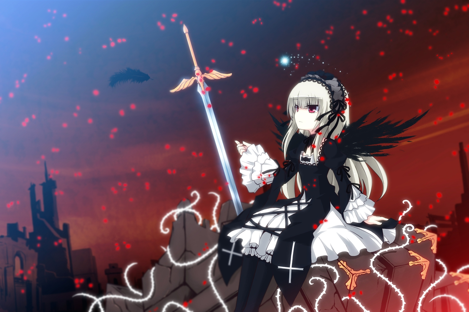dress feathers gray_hair red_eyes rozen_maiden suigintou sword uiu weapon wings