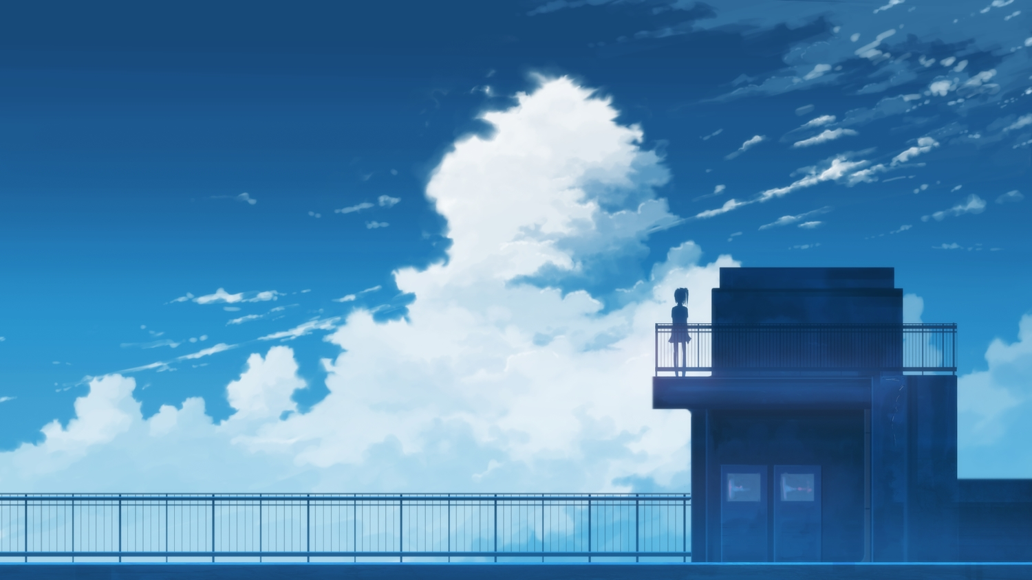 clouds hati_98 original ponytail rooftop scenic silhouette sky