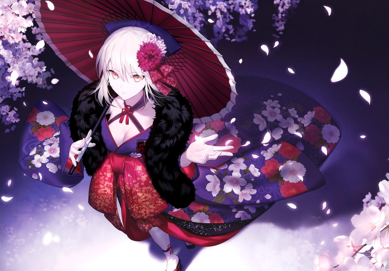 artoria_pendragon_(all) breasts cleavage fate/grand_order fate_(series) fate/stay_night flowers japanese_clothes kimono saber saber_alter scan shinooji umbrella