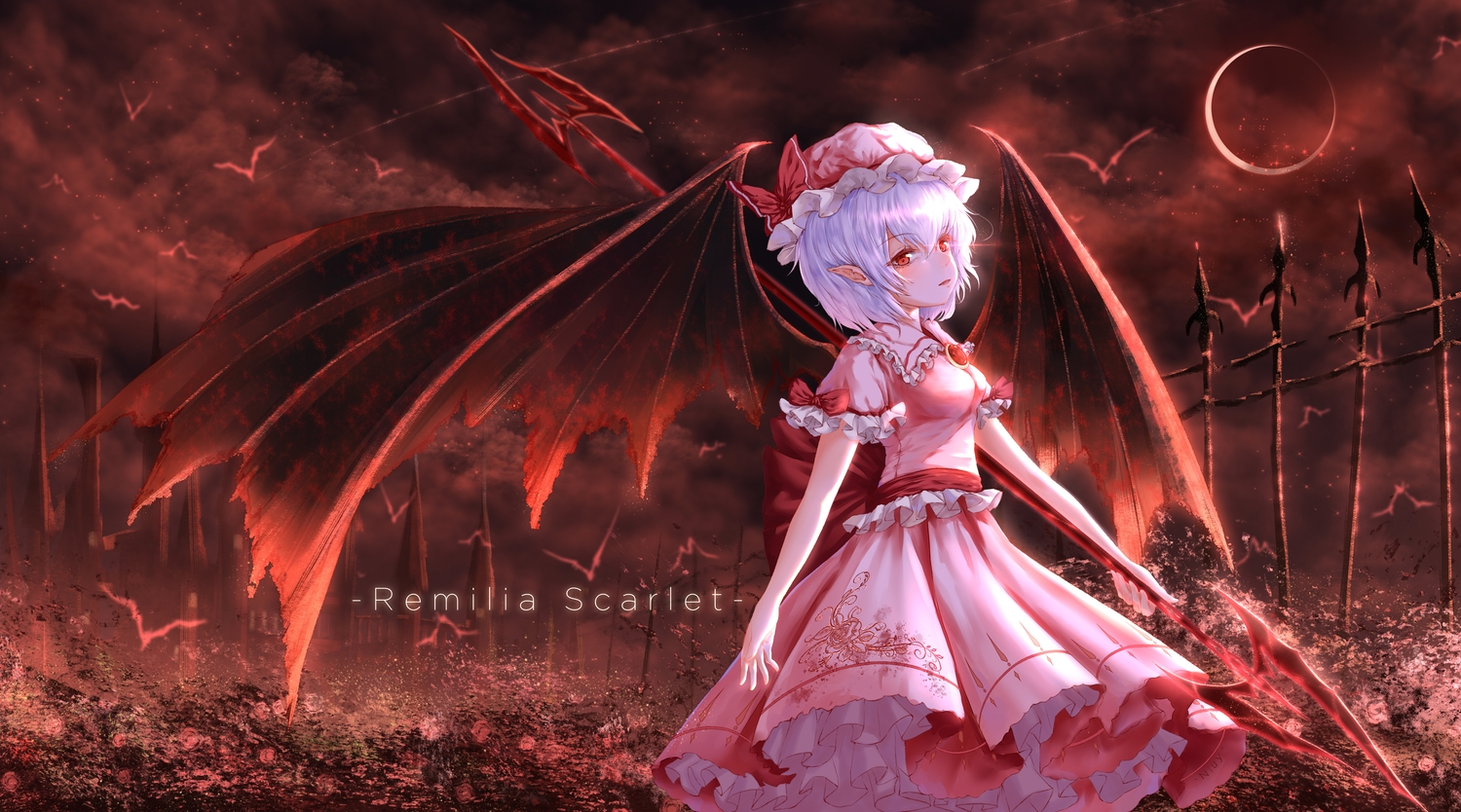 moon niuy red remilia_scarlet spear touhou vampire weapon wings
