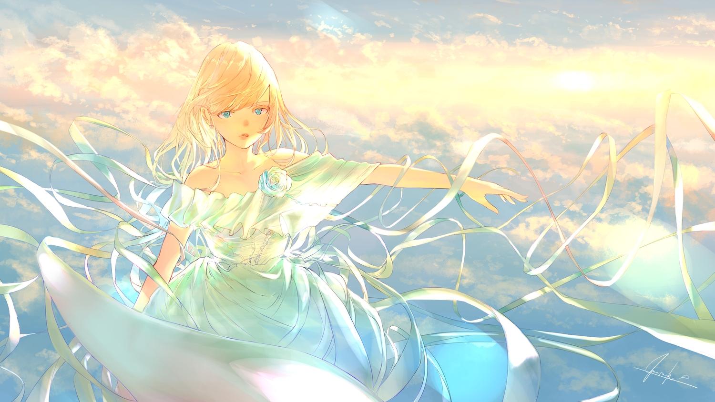 aqua_eyes blonde_hair clouds dress goroku long_hair original signed sky