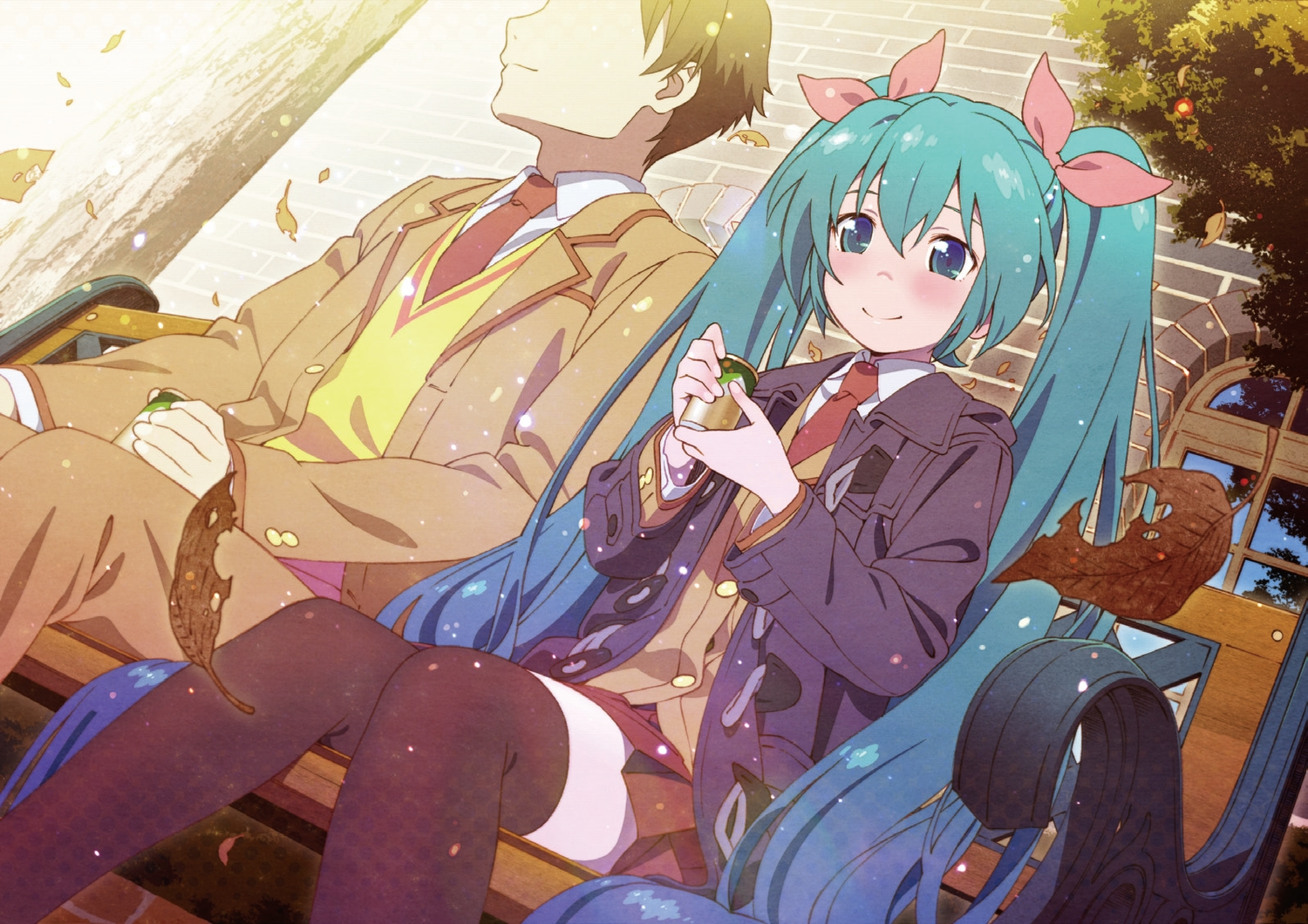aqua_eyes aqua_hair autumn drink hatsune_miku leaves long_hair male school_uniform shiwasu_takashi thighhighs tie tree twintails vocaloid zettai_ryouiki