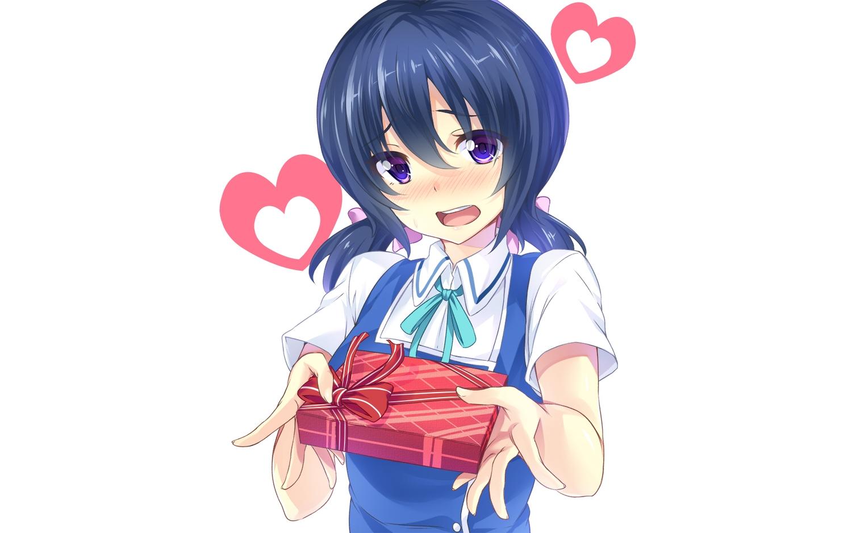 blue_hair blush d-fragments funabori hinata_sora photoshop short_hair twintails valentine white