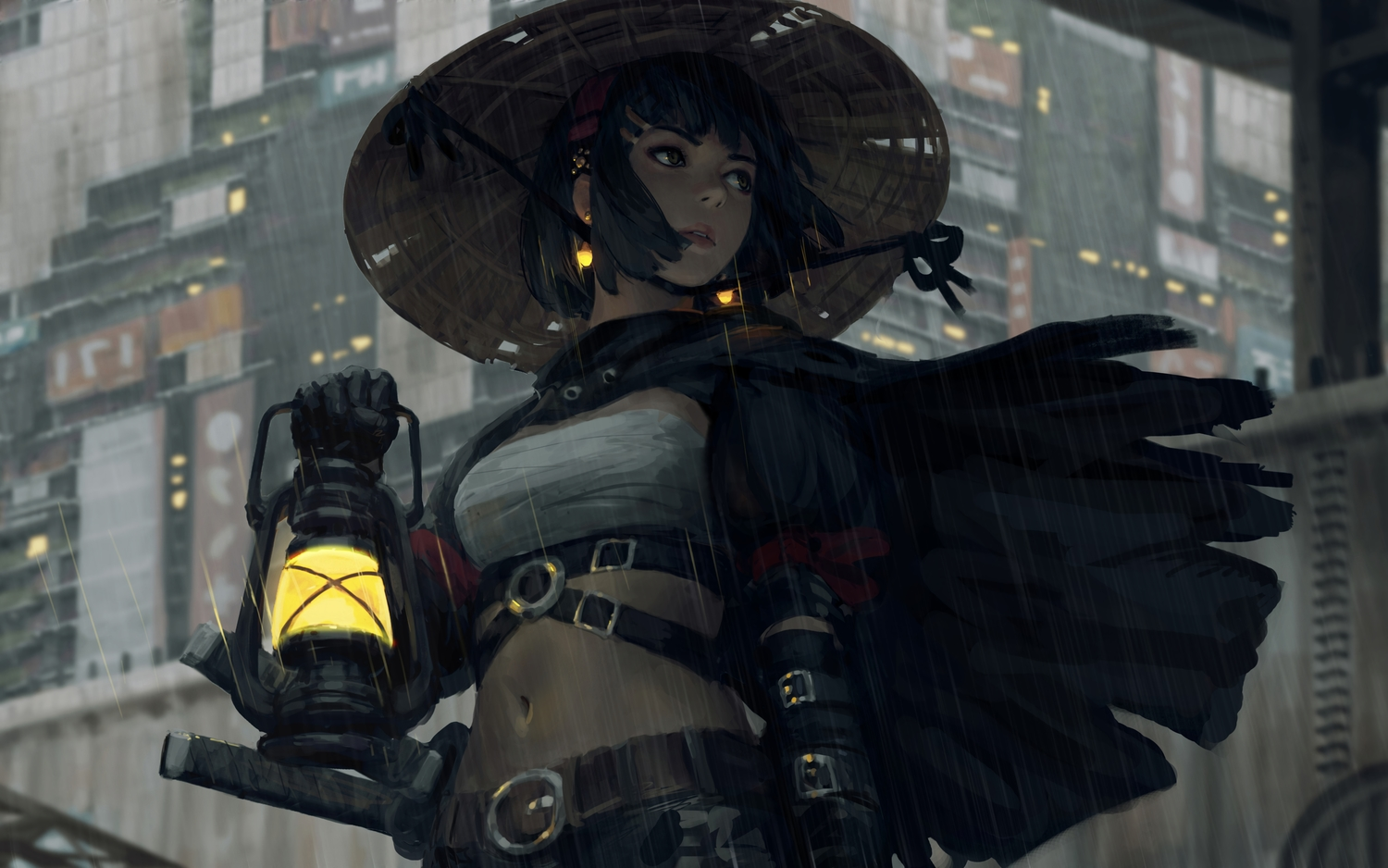 guweiz hat navel original rain sarashi short_hair underwear water