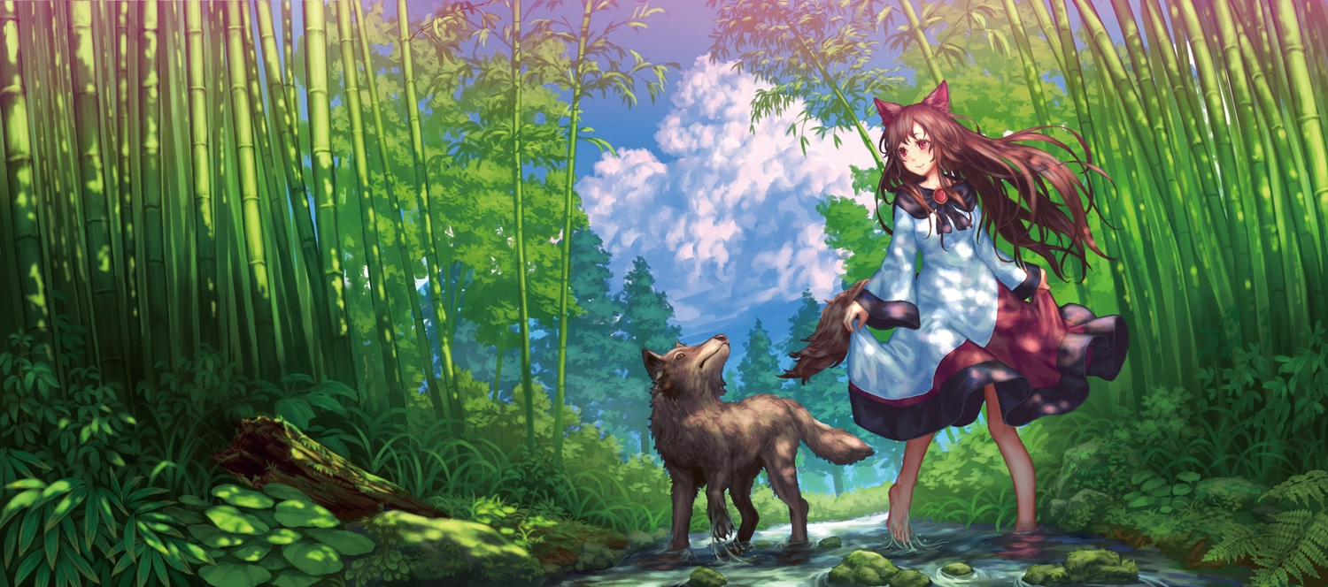 animal animal_ears brown_hair clouds forest imaizumi_kagerou long_hair red_eyes sky tail teiraa touhou tree water wolf wolfgirl